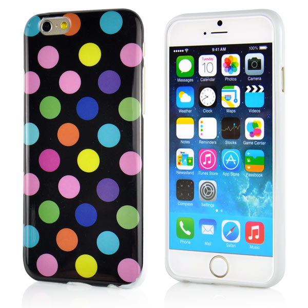 Kryt pre iPhone 6   6S Polka Dot TPU čierny s farebnými aj bodkami b25f81e65ff