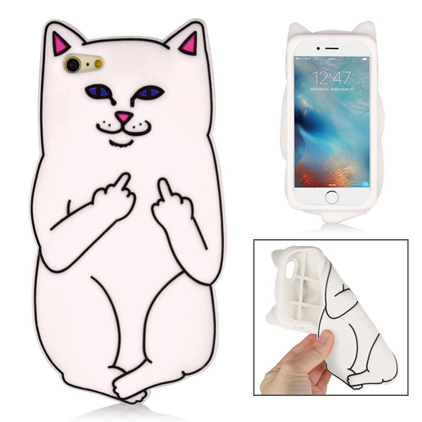 Slicoo iPhone 6 Plus / 6S Plus kryt 3D Impolite Cat biely