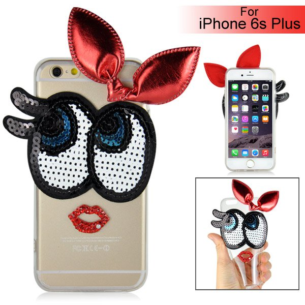 Slicoo iPhone 6 Plus / 6S Plus kryt Huge Eyes Bowknot červený