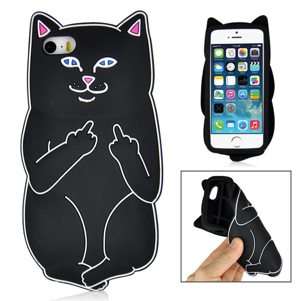Kryt iPhone 5 / 5S / SE 3D Impolite Cat čierny
