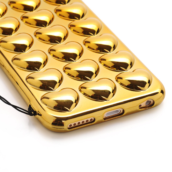 Kryt pre iPhone 6 / 6S 3D Electroplate Heart zlatý